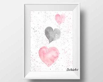 Nursery heart print Heart printable Pink heart pink grey nursery decor Watercolor heart print 11x14 5x7 8x10 Girls bedroom INSTANT DOWNLOAD