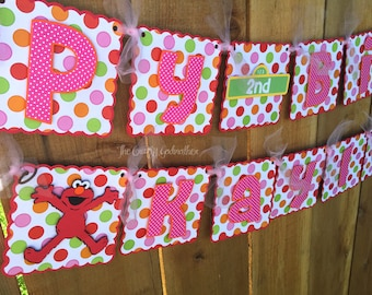 Pink Girly Red Monster Polka Dot Birthday Banner