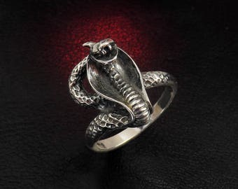 Snake ring, snake jewelry, silver snake ring, sterling silver ring for women, occult jewelry, cobra ring, serpent ring, women's ring silver