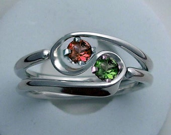Hand Forged 2 Turn Vortex Energy Ring ™ © with Two Stones