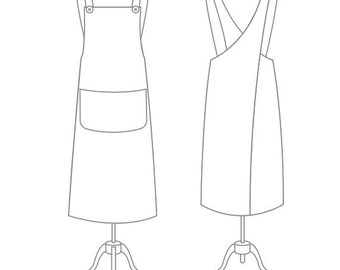 Linda Pinafore Apron Pattern, Pinafore Apron Pattern,Crossback Apron, Craft Apron,Long Apron with big pocket, Pattern,Japanese Apron Pattern