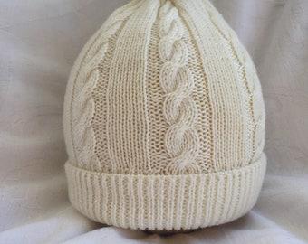 Pure Merino childs cable hat Cream