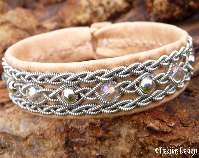 Viking Bracelet Cuff, YDUN Sami Tenntrådsarmband, Natural Leather, Pewter Braids with Sterling Silver and Crystals