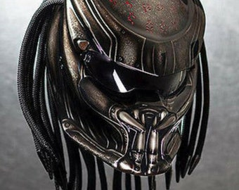Hot Item Predator Street Fighter Helmet  Carved Text - DOT Approved