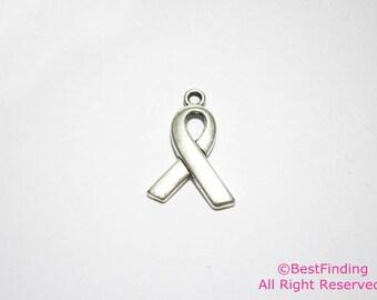 Ribbon charm Breast cancer awareness ribbon charm  -10pcs