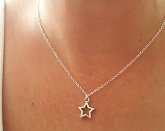 Star Necklace - Star Jewelry - Silver Star Necklace - Charm Necklace - Celestial Jewelry - Necklace Star - 2 Sizes Available