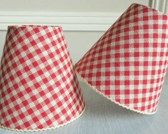 Gingham lampshades etsy a red bistro check gingham lampshade aloadofball Images