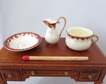 Hand-Painted Dollhouse Miniature Wash Set - Red