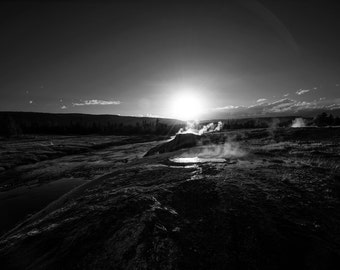 Day is Done: An Archival Pigment Fine Art Print of the Firehole River in Yellowstone, Wyoming at Sunset