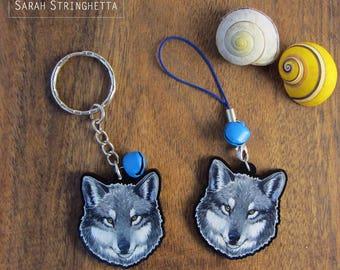 Keychain - Charm - Strap - Wolf head