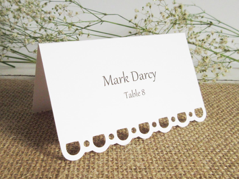 Blank Wedding Escort Cards / Lace Edge / Wedding Placecards /