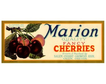 Marion Oregon Cherries Crate label