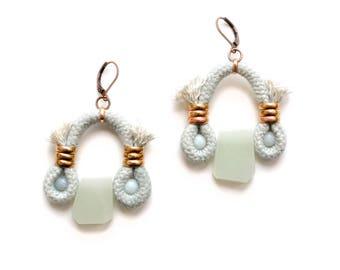 Statement Earrings, Boho Earrings, Hippie Earrings, Beaded Earrings, Rope Earrings, Mint Earrings, Agate Earrings, Gift For Her, Clip on