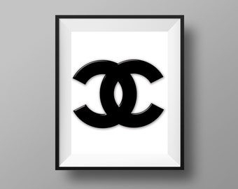 Chanel Print > Chanel Art > Chanel Decor > Chanel Sign > Black And White Chanel - 8x10 - Instant Digital Download