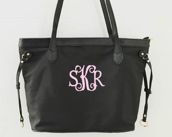 Monogrammed Tote Bag   Preppy Personalized Black Nylon Handbag   Makes a great gift for bridesmaids, graduation, birthdays, Mother's Day