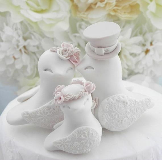 Family Love Birds Wedding Cake Topper, White, Dusty Pink and Tan - Bride and Groom Keepsake, Fully Custom