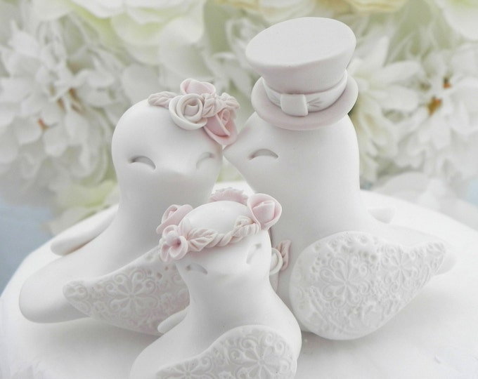 Family Love Birds Wedding Cake Topper, White, Dusty Pink and Tan - Bride and Groom Keepsake, Fully Custom