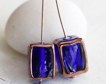 Handmade Glass Beads - Czech Lampwork Bead - Czech Glass Beads For Jewelry Making - Jewelry Supplies - 11x14mm - Cobalt Blue - Choose Amount