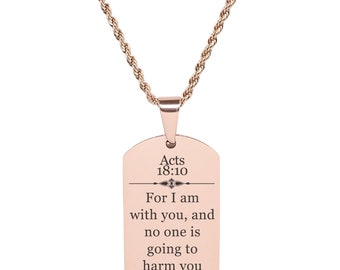 Acts 18:10 Tag Necklace - SSDOGTAG-ACTS18.10-BLK - Rose Gold