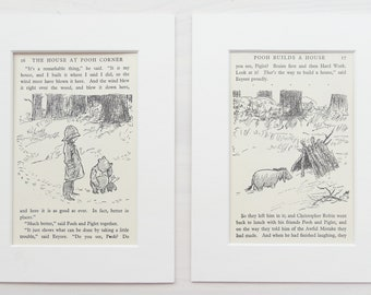 TWO Mounted Winnie The Pooh Prints , Eeyore's House, Pooh, Piglet, Christopher Robin. PAIR of Matted Vintage 1930s Black and White Print