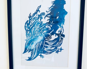 Handcut papercut Mermaid