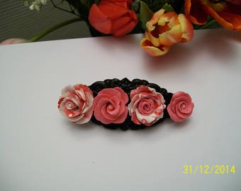 for the challenge! hair clip decorated with polymer clay roses