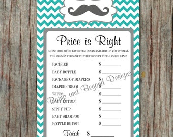 Little Man the Price is Right Digital Game Mustache Printable Baby Shower Game diy Instant Download Aqua Grey Chevron PDF - 002
