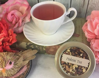 Pinktini Strawberry Kiwi Herbal Loose Leaf Tea No Caffeine 1 oz Round Window Tin Tea Caddy or Pouch