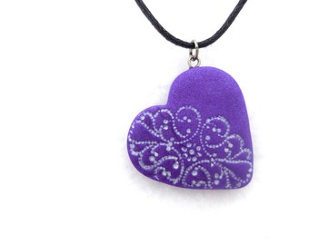 Purple Heart Necklace, Polymer Clay Jewelry, Valentines Day Heart Jewelry, Purple Lace Polymer Clay Pendant