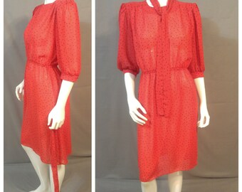 Vintage 70s/80s Sheer Day Dress   Polka Dots   Size XS/S   Emerald St. California