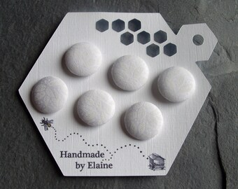 Fabric Covered Buttons - 6 x 19mm Buttons, Handmade Button, Ice Snow Frost White Chalk Alabaster Milk White Organic Leaves Leaf Buttons 2493