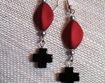 Blood Cross Earrings 2, Deep Red Acrylic, Black Cross