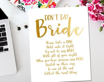 Gold and White Bridal Shower Game, Don't Say Bride Game Gold and White Bridal Shower Game Printable Instant Download BR16