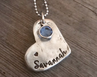 Hand Stamped, Pewter Jewelry, Name Jewelry,  Heart, Personalized Jewelry, Name Jewelry, Grandma Necklace, Mom Necklace, Birthstone Jewelry