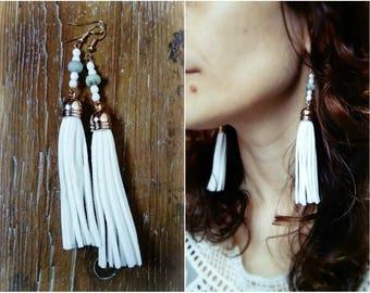 Long tassels in suede and amazonite bead earrings