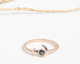 Mini silver ring gold and blue topaz london