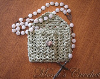 Ready To Ship - Hand Crocheted Sage Green Unlined Rosary Bead Case With Silver Heart Button