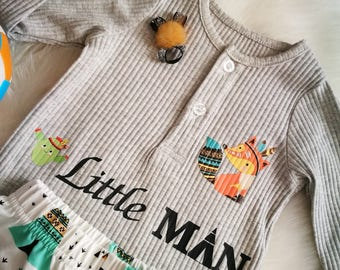 beautiful set for baby pants + body (message little man) / ethnic tipi / cactus / fox / feathers 9 months / original baby clothing /