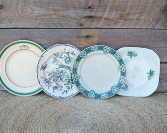 Mismatched small plates, set of 4, salad plates, green and white porcelain, side plates, bread and butter plates, mismatched china plates