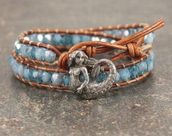 Bold Mermaid Bracelet Silver Blue Turquoise Mermaid Jewelry Beach Boho Double Leather Wrap Bracelet