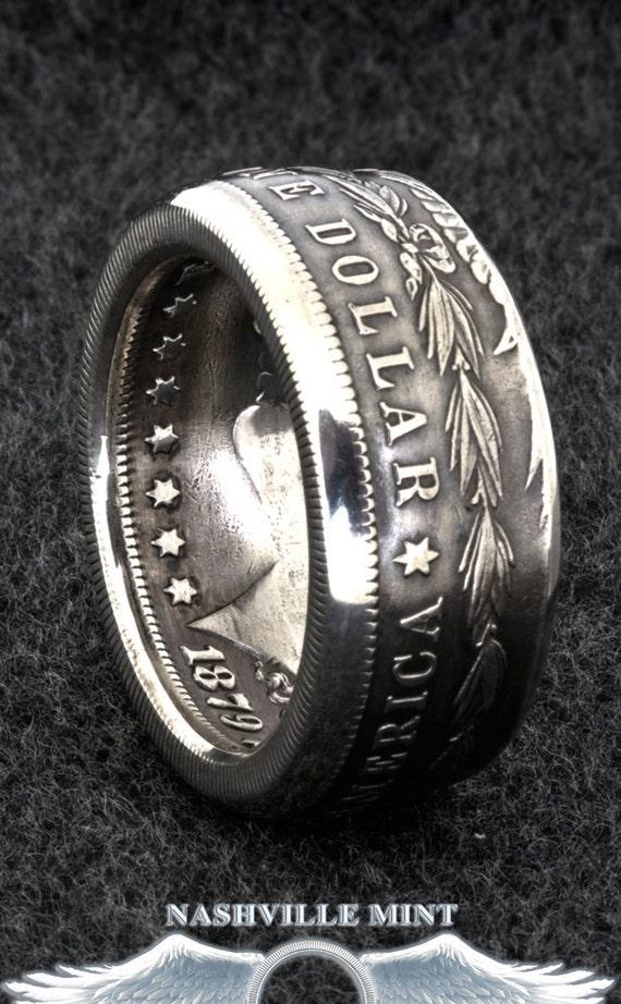 1902 Morgan Silver Dollar Coin Ring Size 923 Half Large Men