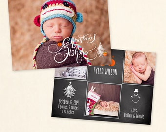 INSTANT DOWNLOAD 5x7 Christmas Card Photoshop Template/ Christmas Birth Announcement Photoshop Card - CA533