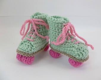 Crochet Baby Booties 6 Month Size Light Green Roller Skates Pink Laces & Wheels  READY to SHIP