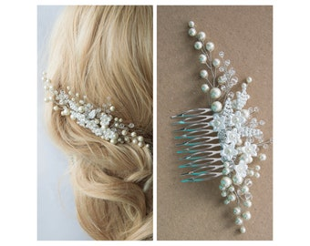Bridal hair comb Ivory bridal hair comb Crystals bridal comb Wedding headpiece Hair jewelry Ivory pearl headpiece Pearl hair vine