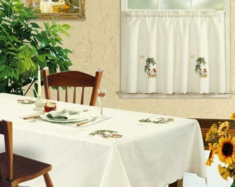 3-piece Tropical Coconut Trees Kitchen Window Curtain Set Beige Drapes Cafe Tier & Swag