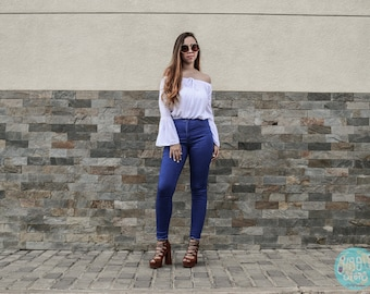 Off- the-Shoulder Long Bell Sleeve Top, White top, Spring top,