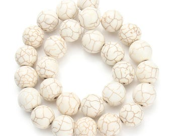 Stone 10 mm creamy white turquoise set of 10 beads