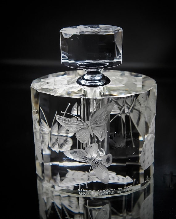 Art Deco Perfume Bottle Hand engraved Butterflies, Crystal Perfume Bottle, Hand Engraved, flower, vanity tray, collectible, signed by Artist