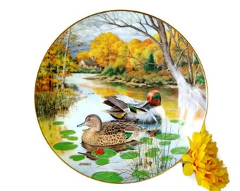 Duck Lover's Ceramic Plate - Green Winged Teal Ceramic Plate - Wildlife Society Living Nature Ceramic Plate