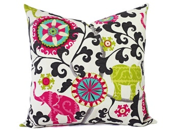 Two Outdoor Decorative Pillow Covers - Green and Pink Pillow Cover - Floral Pillow - Decorative Pillow - Elephant Pillow Cover - Pink Pillow